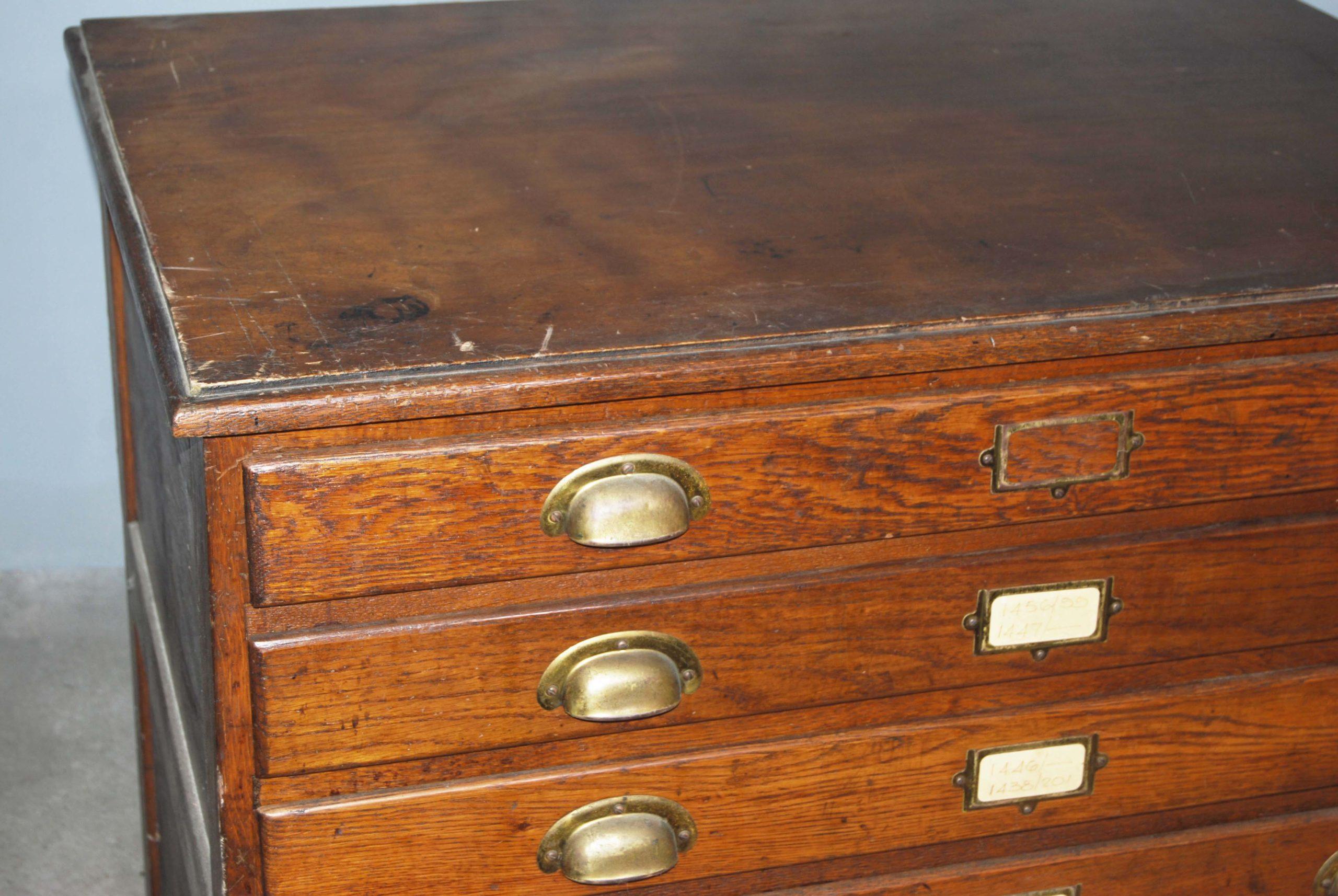 An English oak seven drawer plan chest,-130448