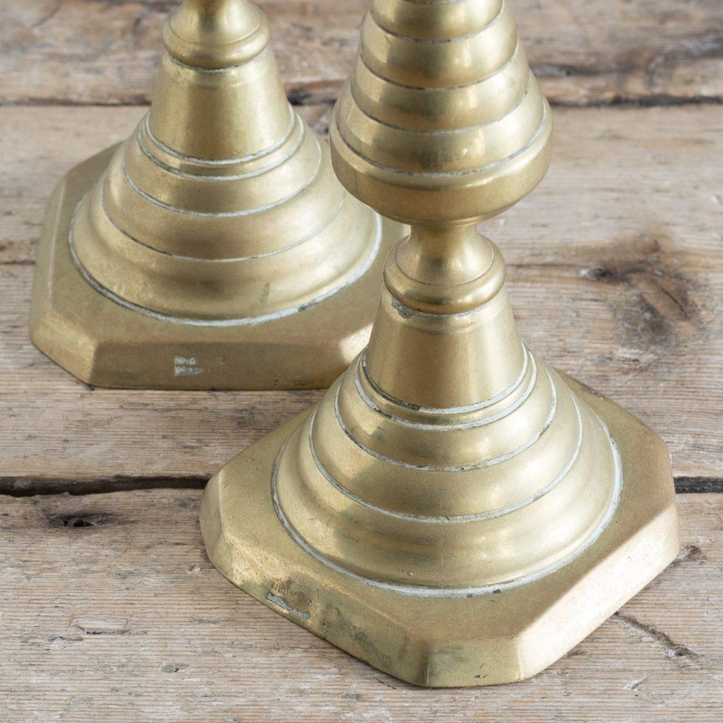 Pair of nineteenth century brass candlesticks,-125822