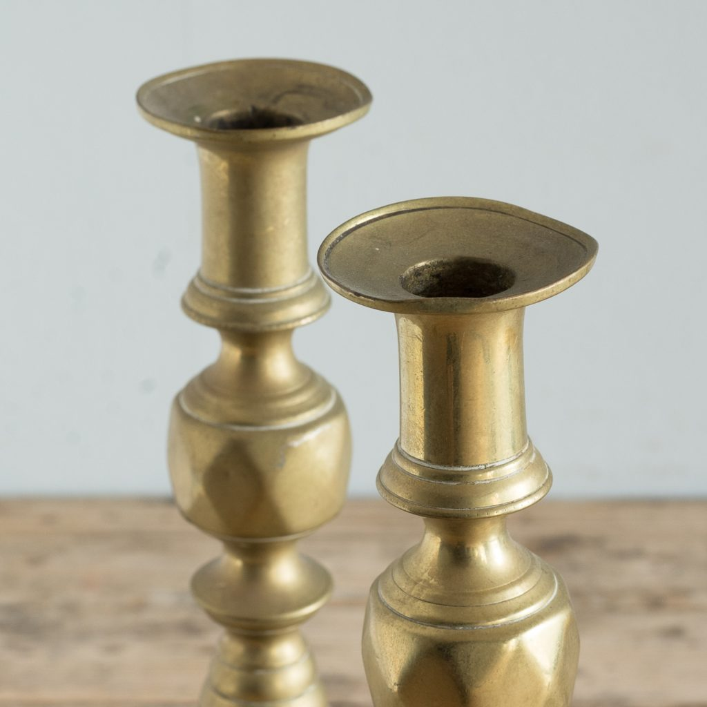 Pair of nineteenth century brass candlesticks,-125821