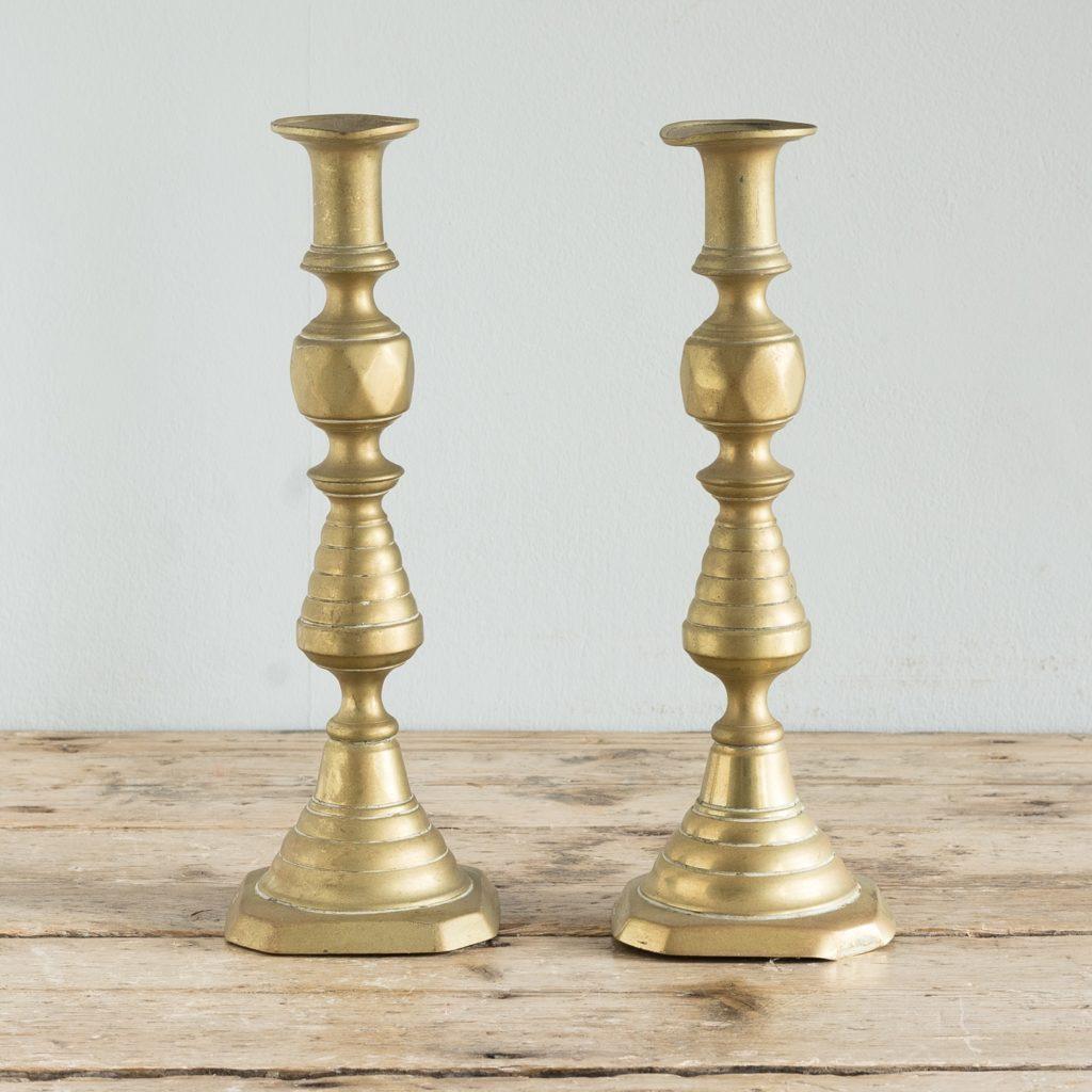 Pair of nineteenth century brass candlesticks