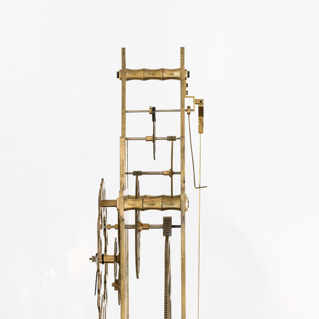 Late nineteenth or early twentieth century brass fusee skeleton clock,-124639