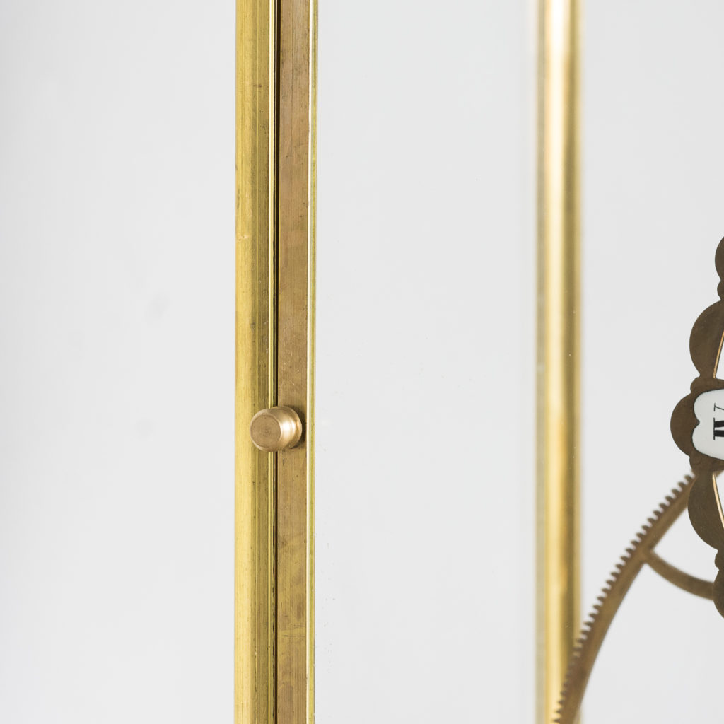 Late nineteenth or early twentieth century brass fusee skeleton clock,-124642