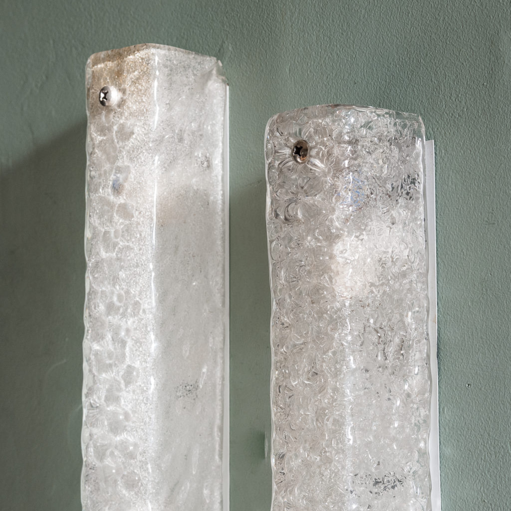 Pair of 1960s Hansel Ice Glass wall lights