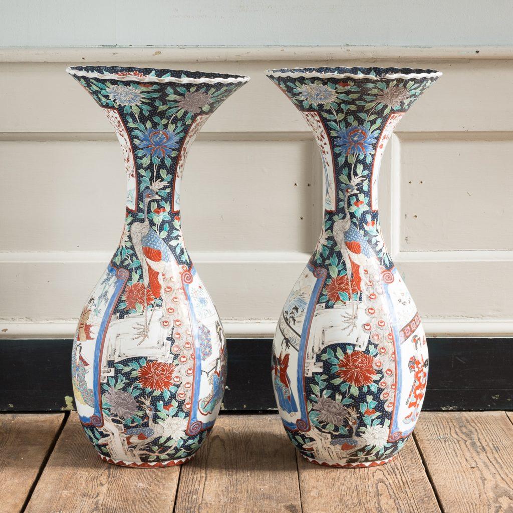 Pair of late nineteenth century Japanese Imari trumpet vases,