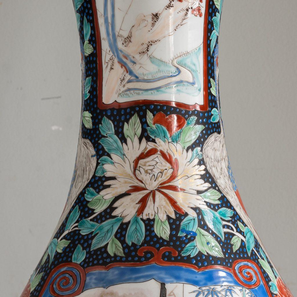 Pair of late nineteenth century Japanese Imari trumpet vases,-125988