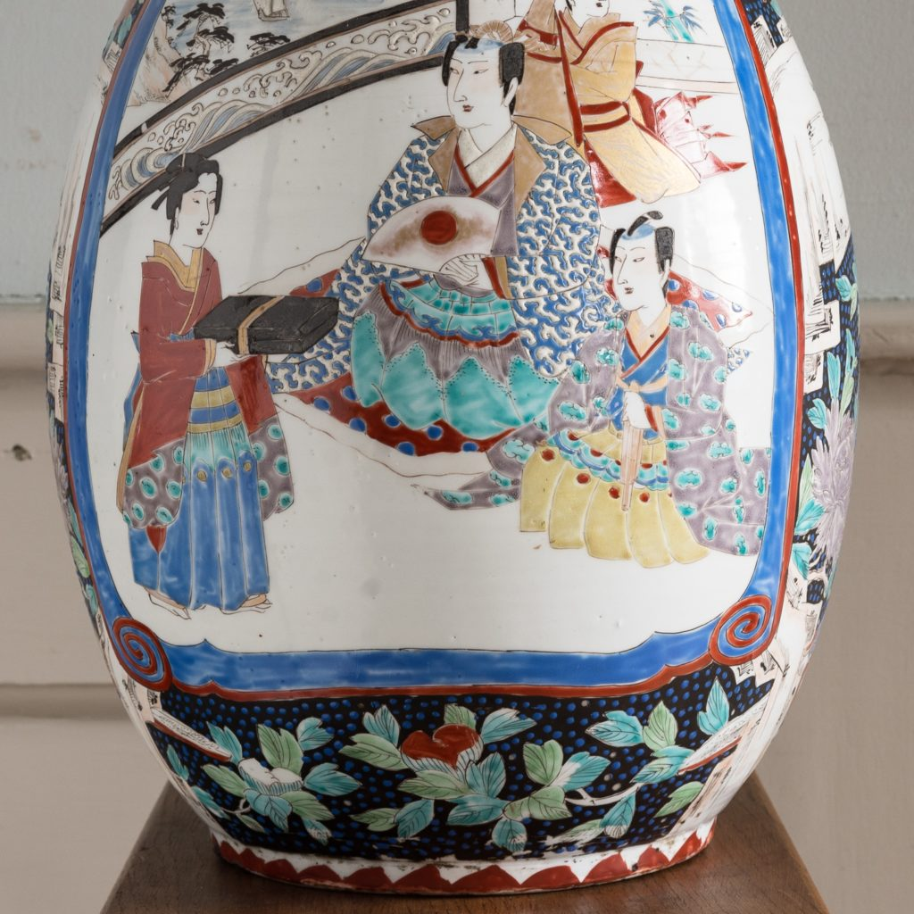 Pair of late nineteenth century Japanese Imari trumpet vases,-125989