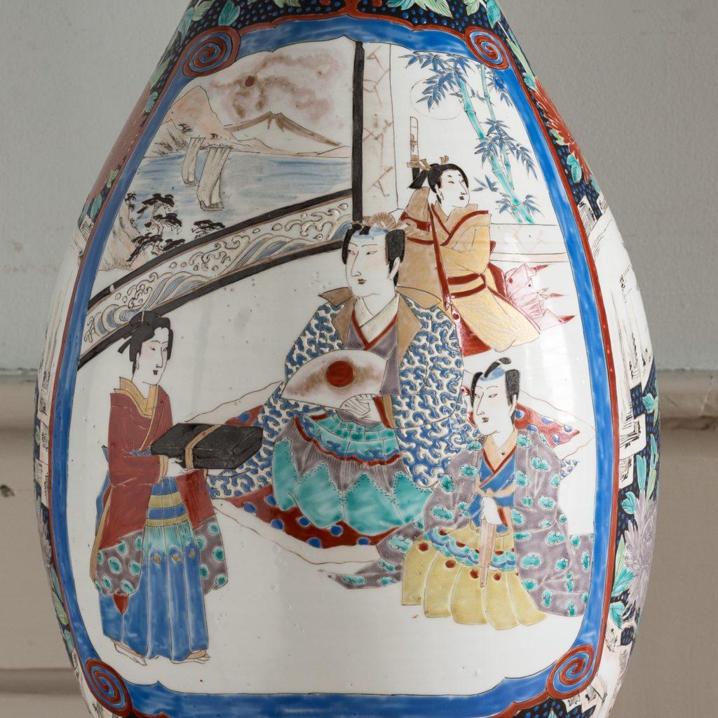 Pair of late nineteenth century Japanese Imari trumpet vases,-125990