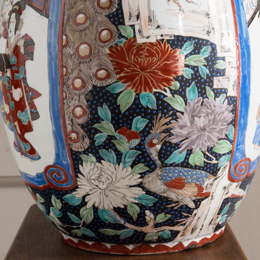 Pair of late nineteenth century Japanese Imari trumpet vases,-125992