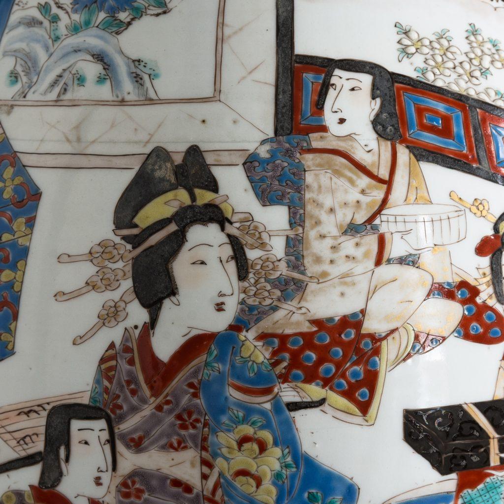 Pair of late nineteenth century Japanese Imari trumpet vases,-125991