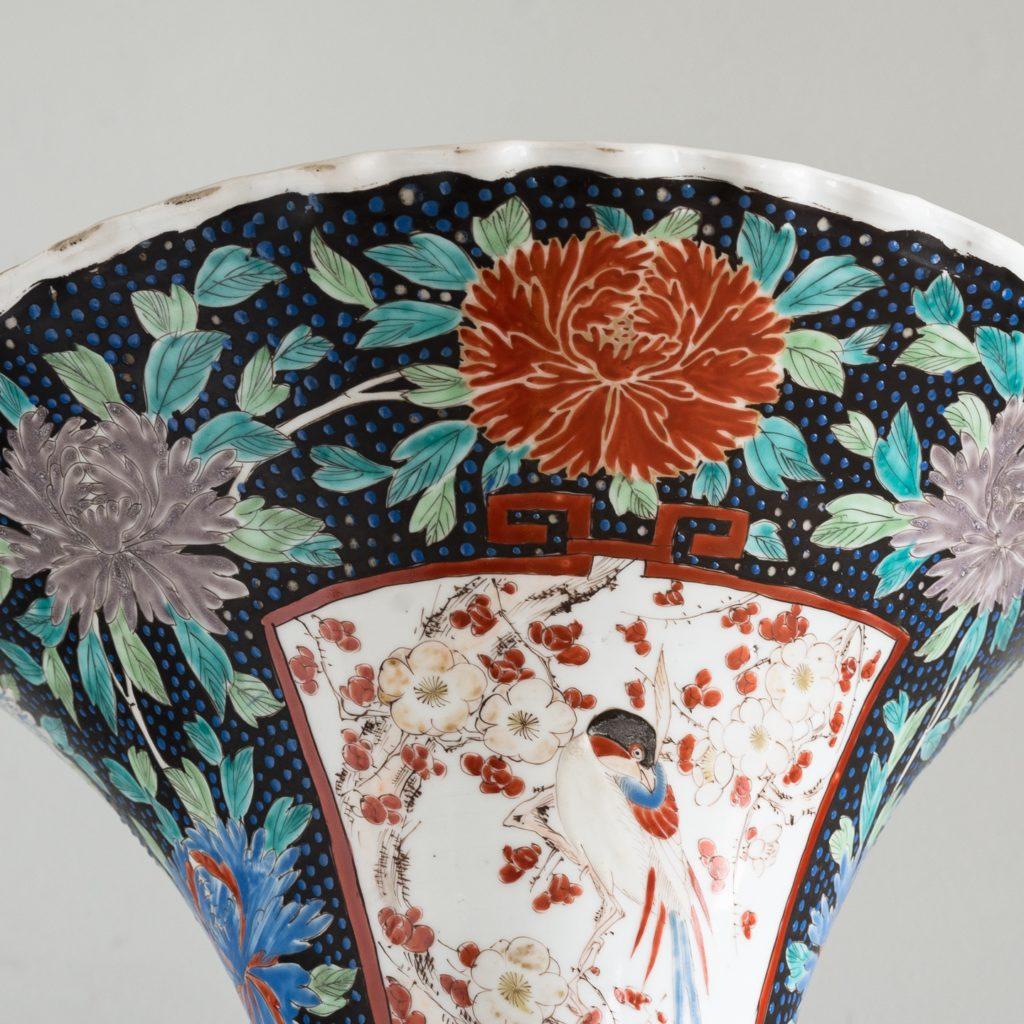 Pair of late nineteenth century Japanese Imari trumpet vases,-125993
