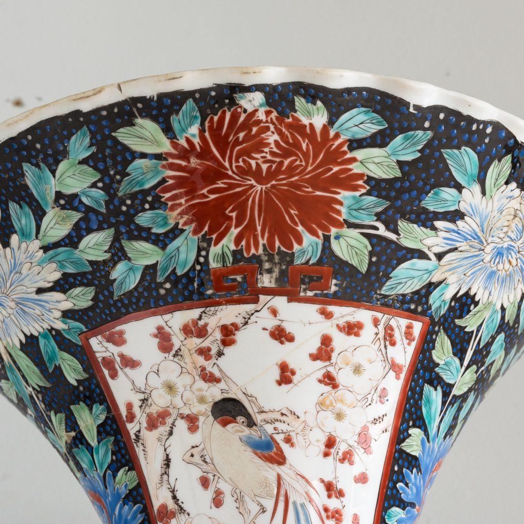 Pair of late nineteenth century Japanese Imari trumpet vases,-125995
