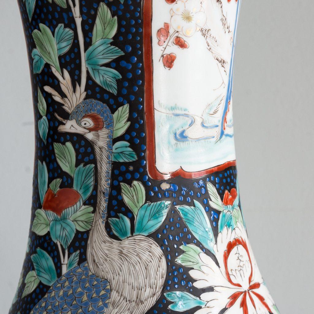 Pair of late nineteenth century Japanese Imari trumpet vases,-125997