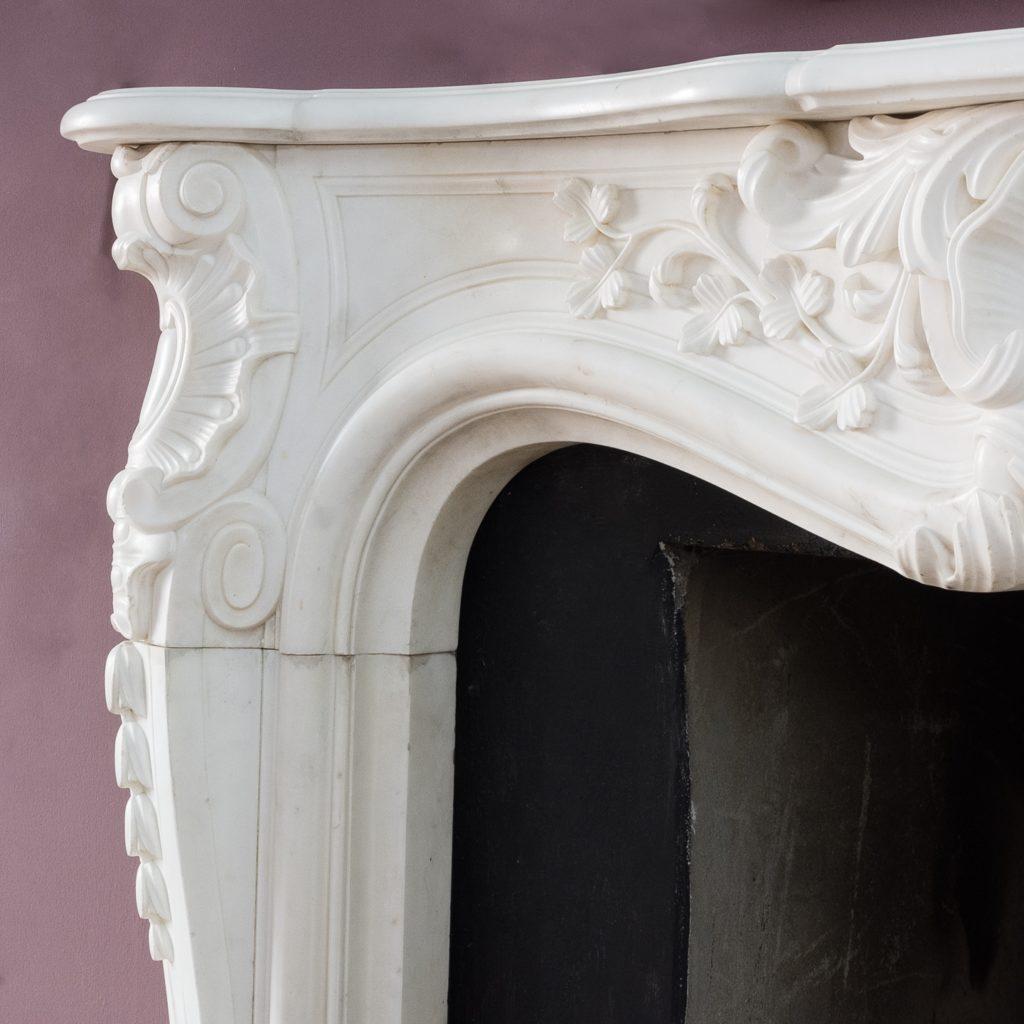 Early nineteenth century English Rococo Statuary marble chimneypiece,-124945