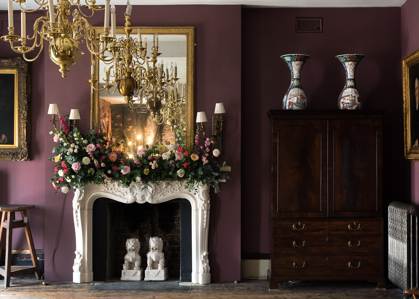 Nineteenth century English Rococo Statuary marble chimneypiece in our Saloon at Brunswick House