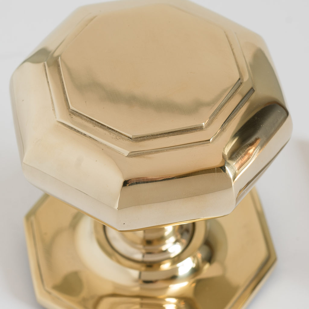 Large octagonal brass centre door pull,
