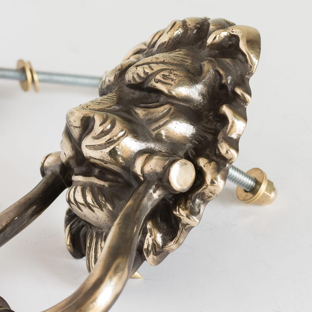 Brass lion's mask door knocker,-126497