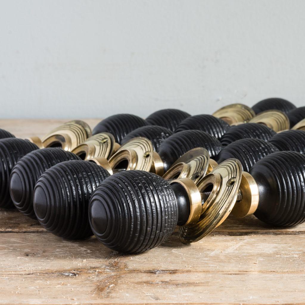 Nineteenth century style ebonised beehive door knobs,