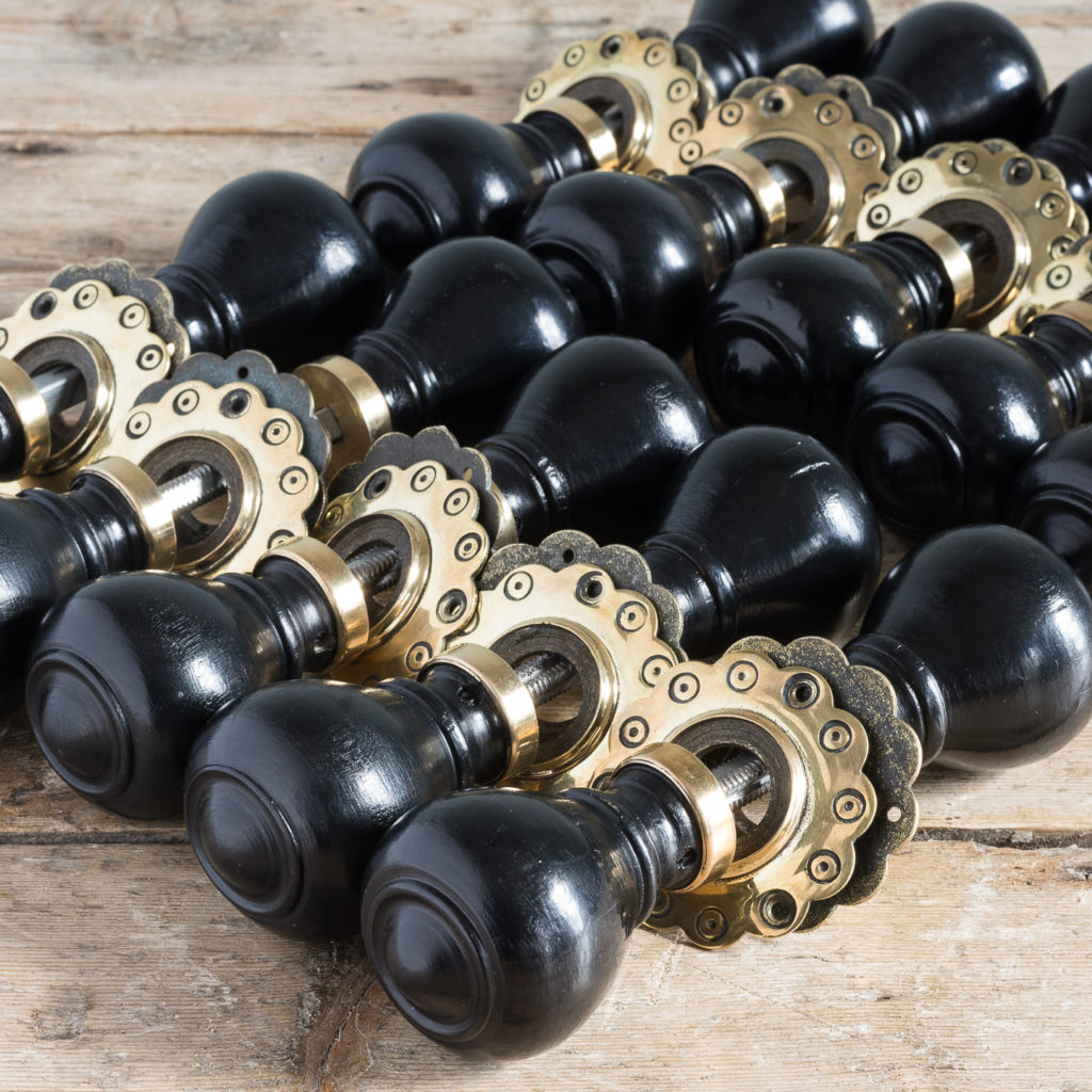 Victorian style ebonised door knobs,