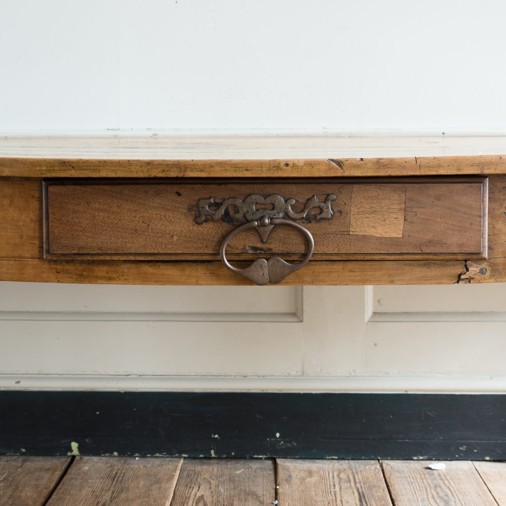 single frieze drawer with substantial iron handle