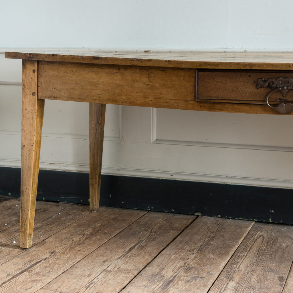 Nineteenth century French fruitwood farmhouse dining table,-126567