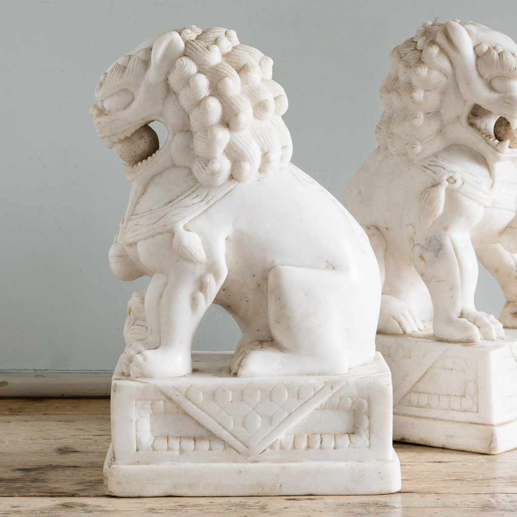 Pair of Chinese marble Foo Dogs,-126466
