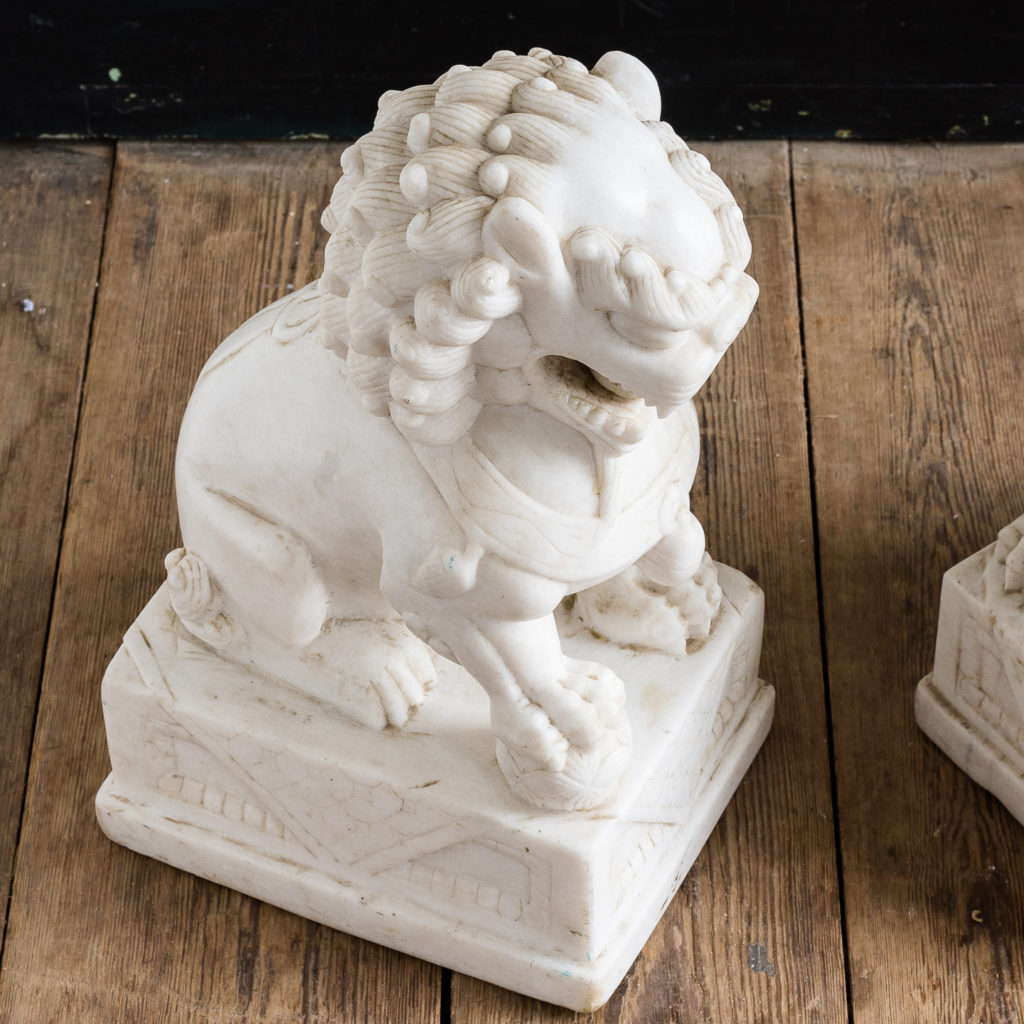 Pair of Chinese marble Foo Dogs,-126469
