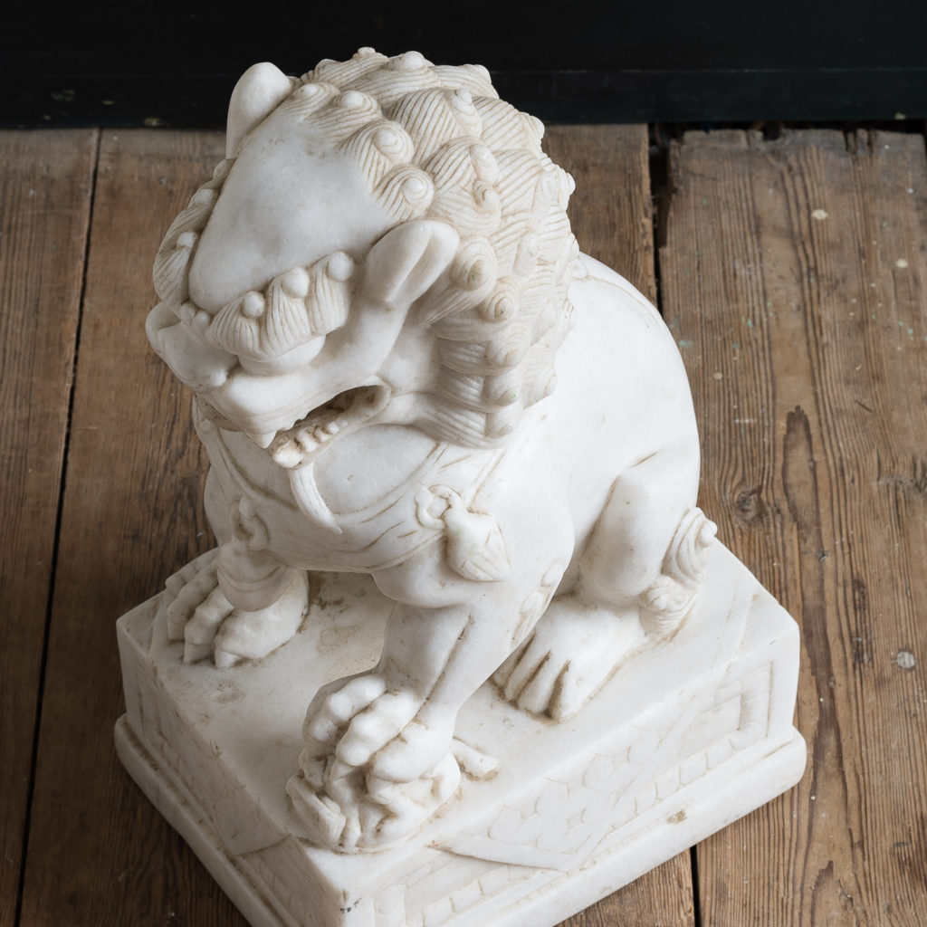Pair of Chinese marble Foo Dogs,-126470