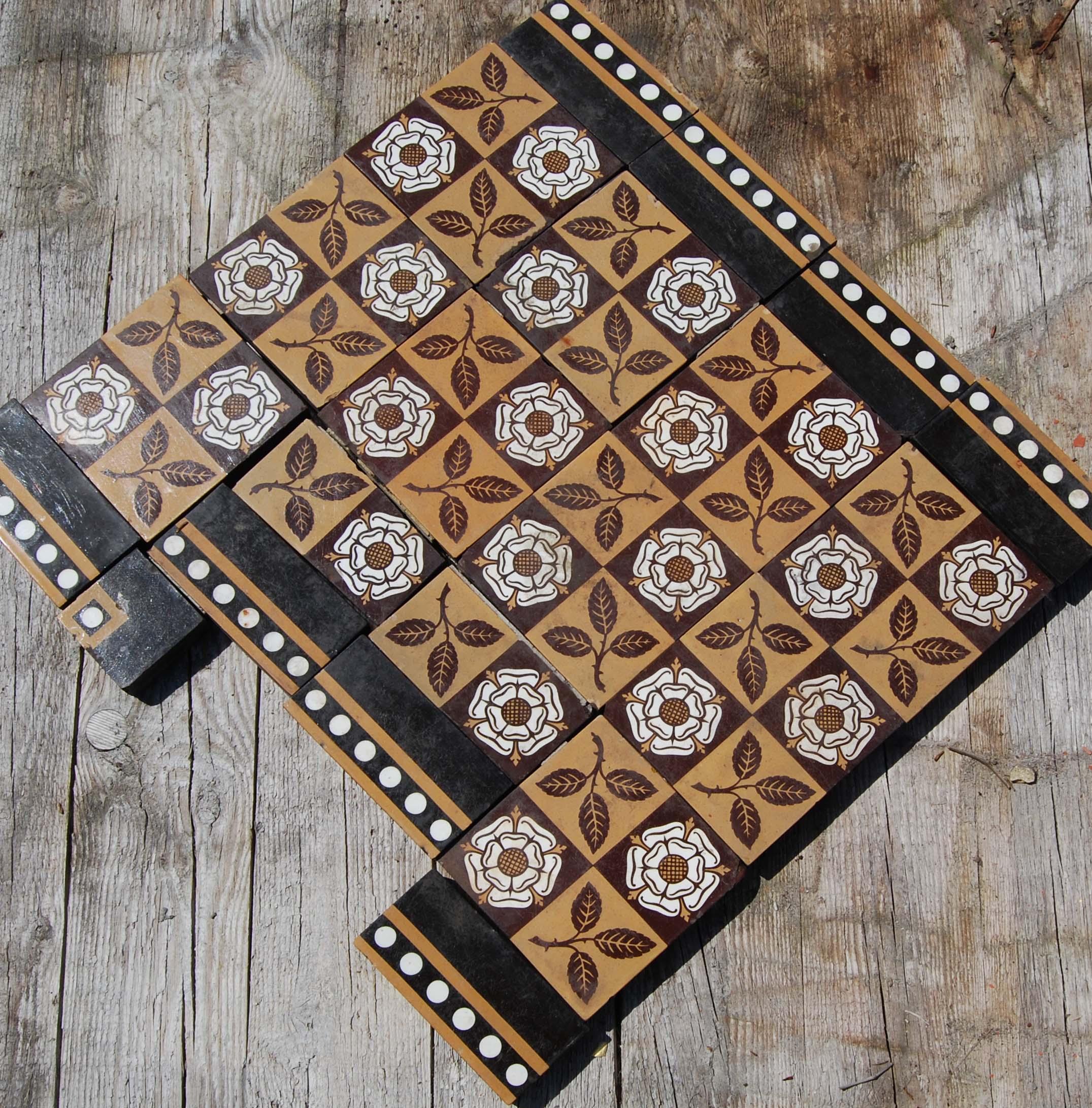 A short run of English encaustic floor tiles-127235