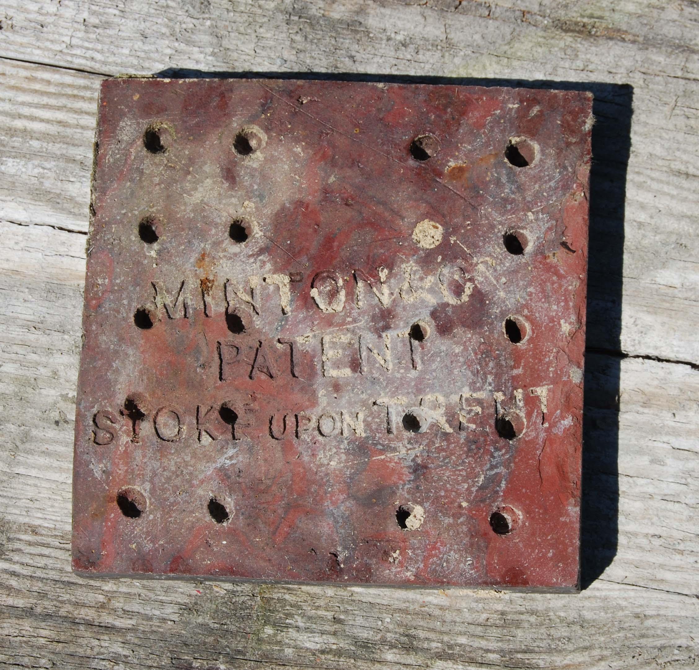 A short run of English encaustic floor tiles-127236