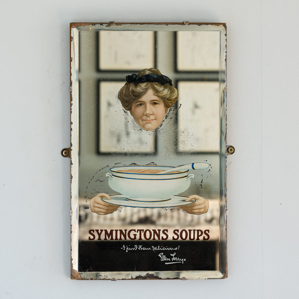 Late nineteenth century advertising mirror,