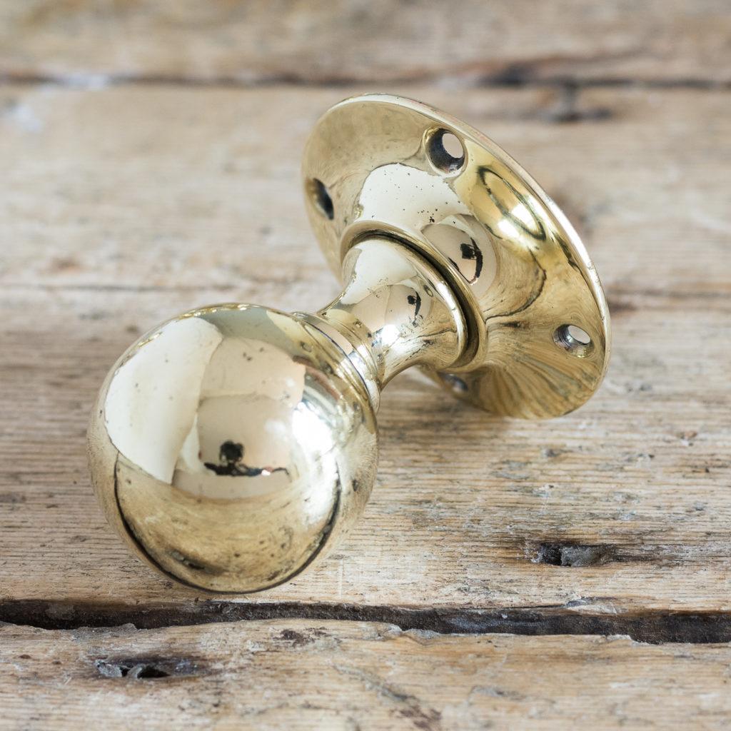 Antique spherical brass door knobs,