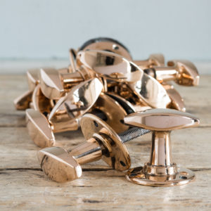 'DRYAD' of Leicestershire rose brass door knobs,