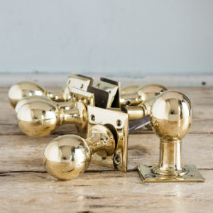 Edwardian brass door knobs,