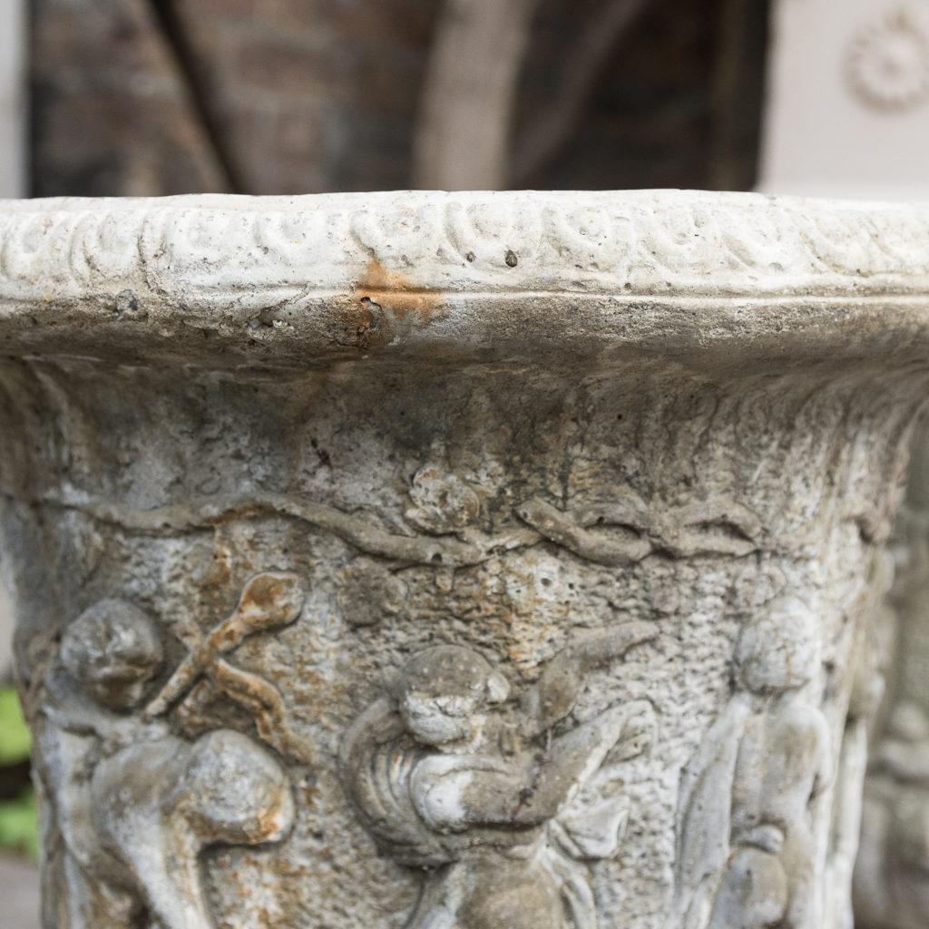 Pair of reconstituted stone Medici urns,-127525