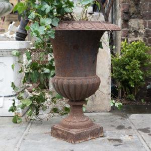Cast iron campana urn,