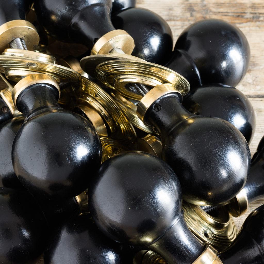 Victorian style spherical ebonised door knobs,