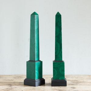Pair of 1970s faux Malachite obelisks,