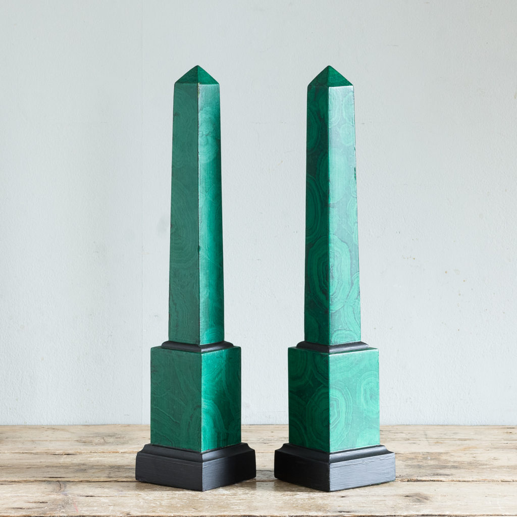 Pair of 1970s faux Malachite obelisks,
