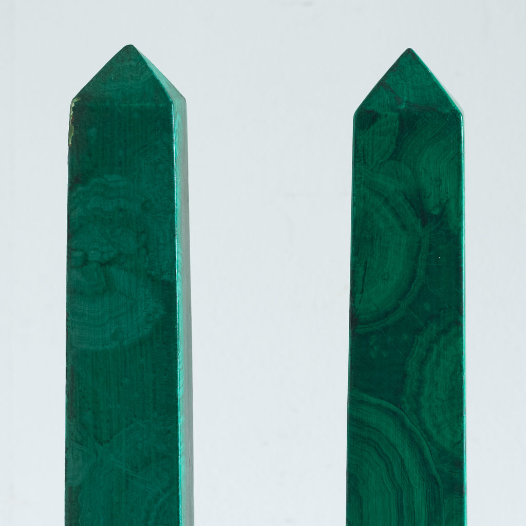Pair of 1970s faux Malachite obelisks,-127213
