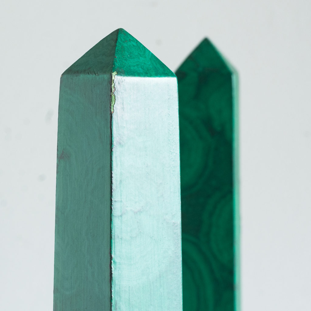 Pair of 1970s faux Malachite obelisks,-127214