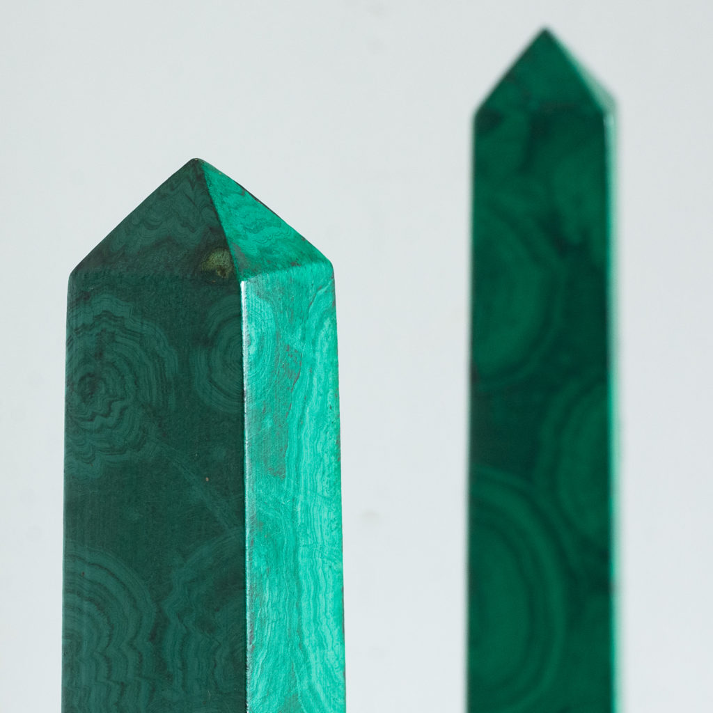Pair of 1970s faux Malachite obelisks,-127215