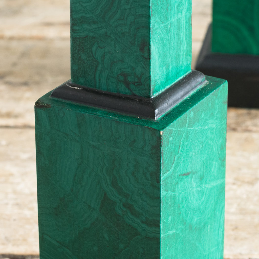 Pair of 1970s faux Malachite obelisks,-127217