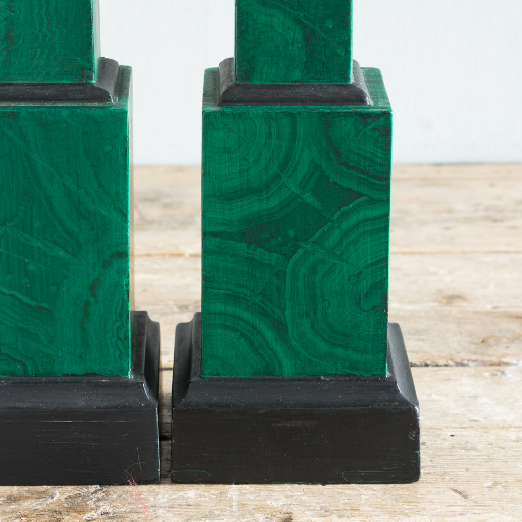 Pair of 1970s faux Malachite obelisks,-127218
