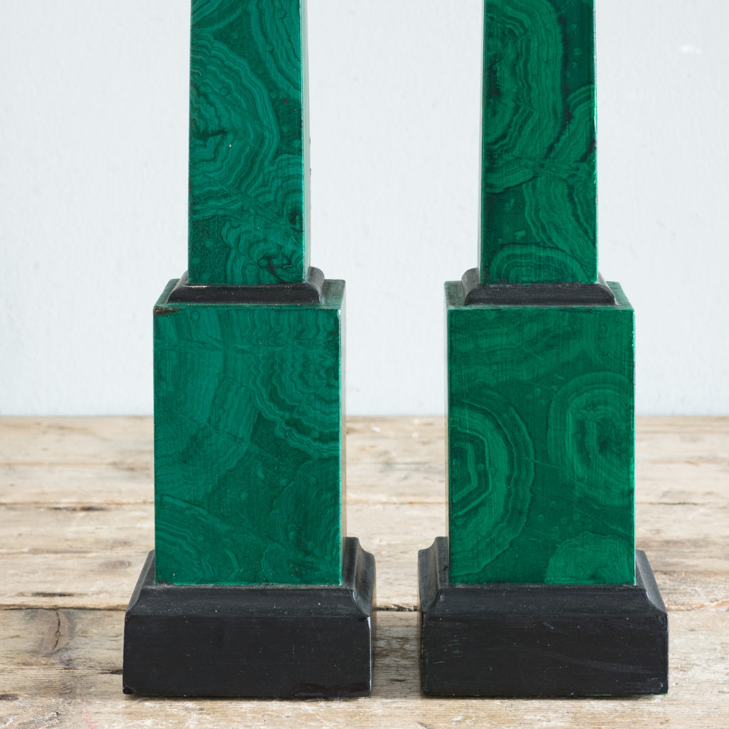 Pair of 1970s faux Malachite obelisks,-127220