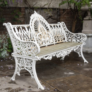 Cast iron garden bench,