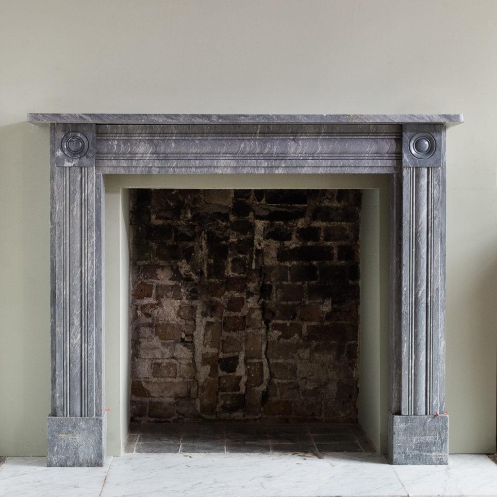 Regency dove grey marble bullseye chimneypiece,