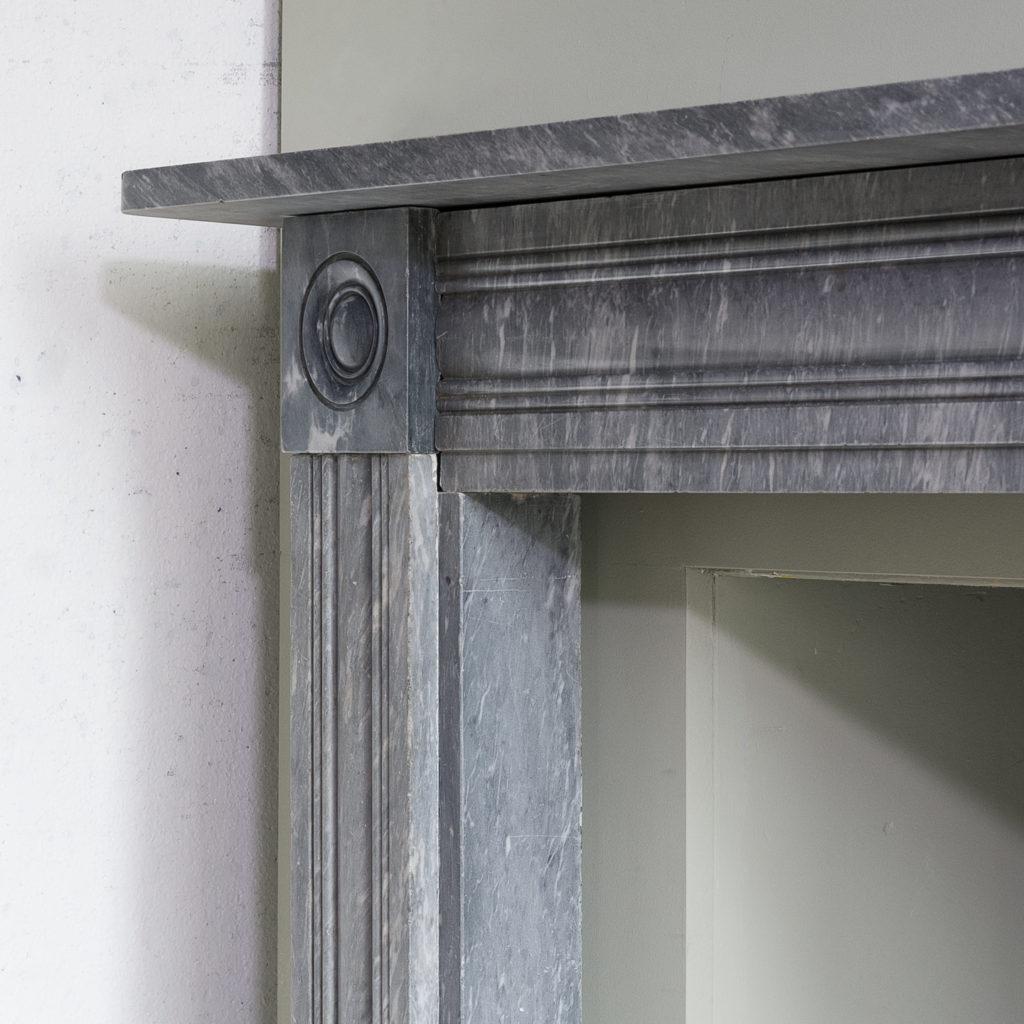 Regency dove grey marble bullseye chimneypiece,-127034
