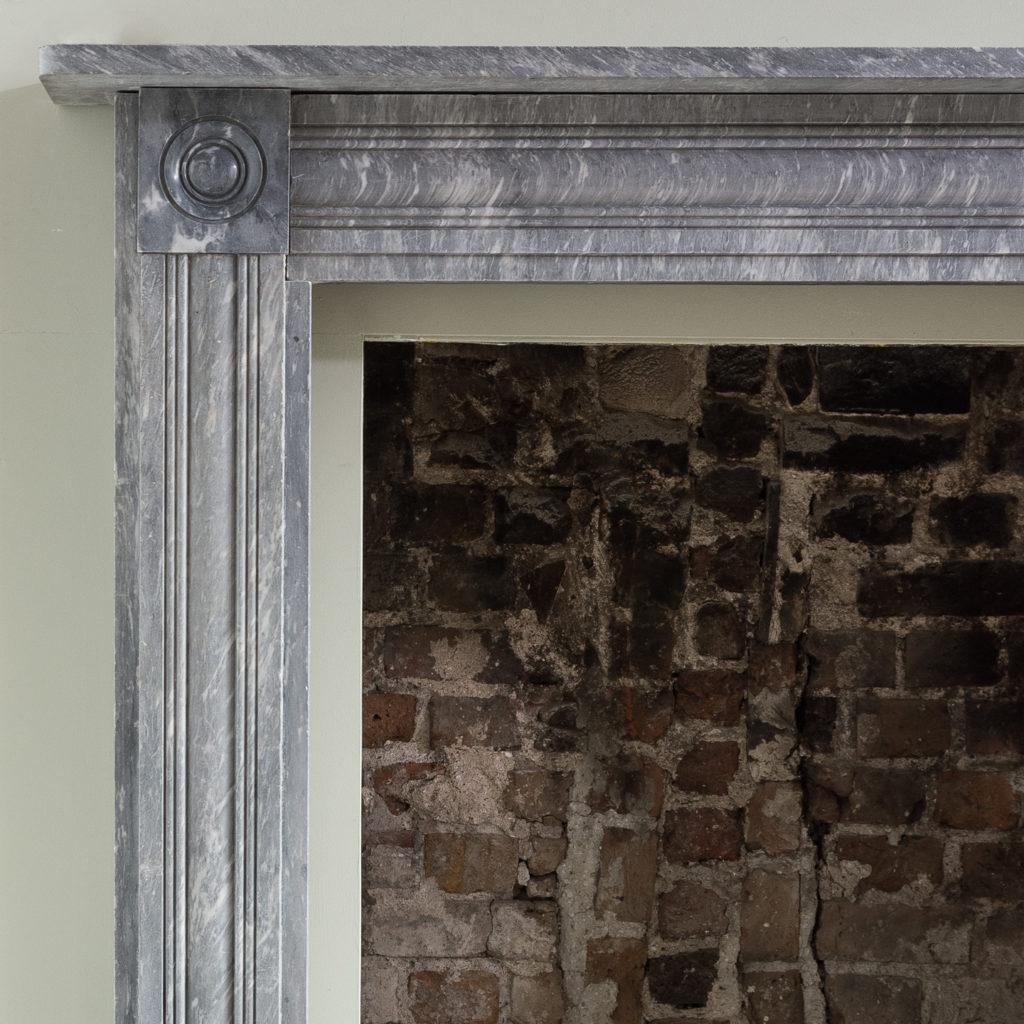 Regency dove grey marble bullseye chimneypiece,-127036