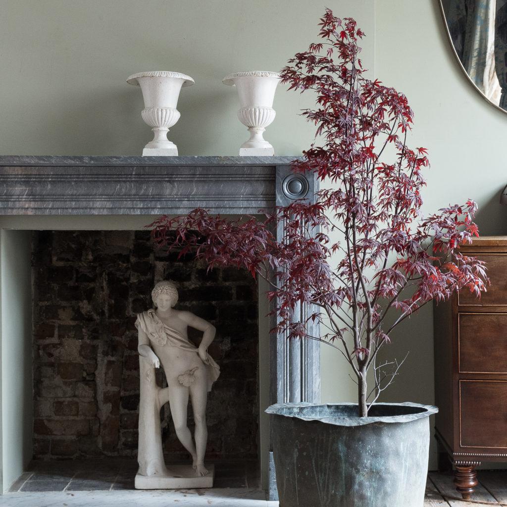 Regency dove grey marble bullseye chimneypiece in situ at LASSCO Brunswick House