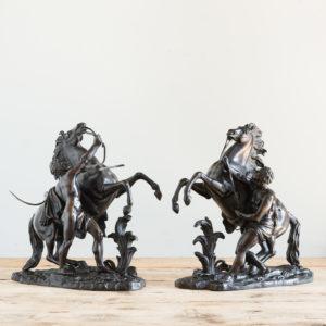 Pair of late nineteenth century bronze Marly horses,